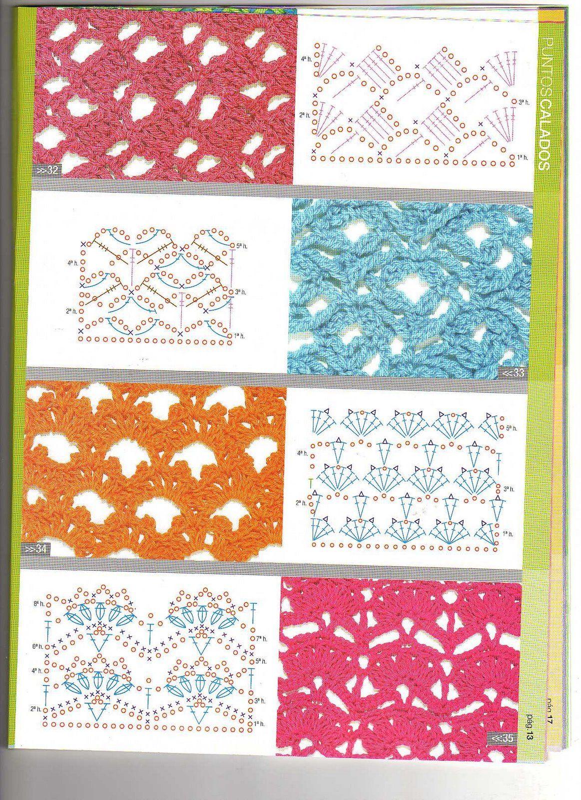Solo puntos crochet puntos calados de todo crochet - Esquema punto estrella crochet ...