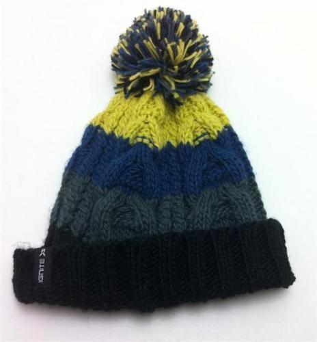 01dbdb354a6 Ignite Chunky Stripe Pom Bobble Hat Yellow Blue Grey BRAND NEW ...