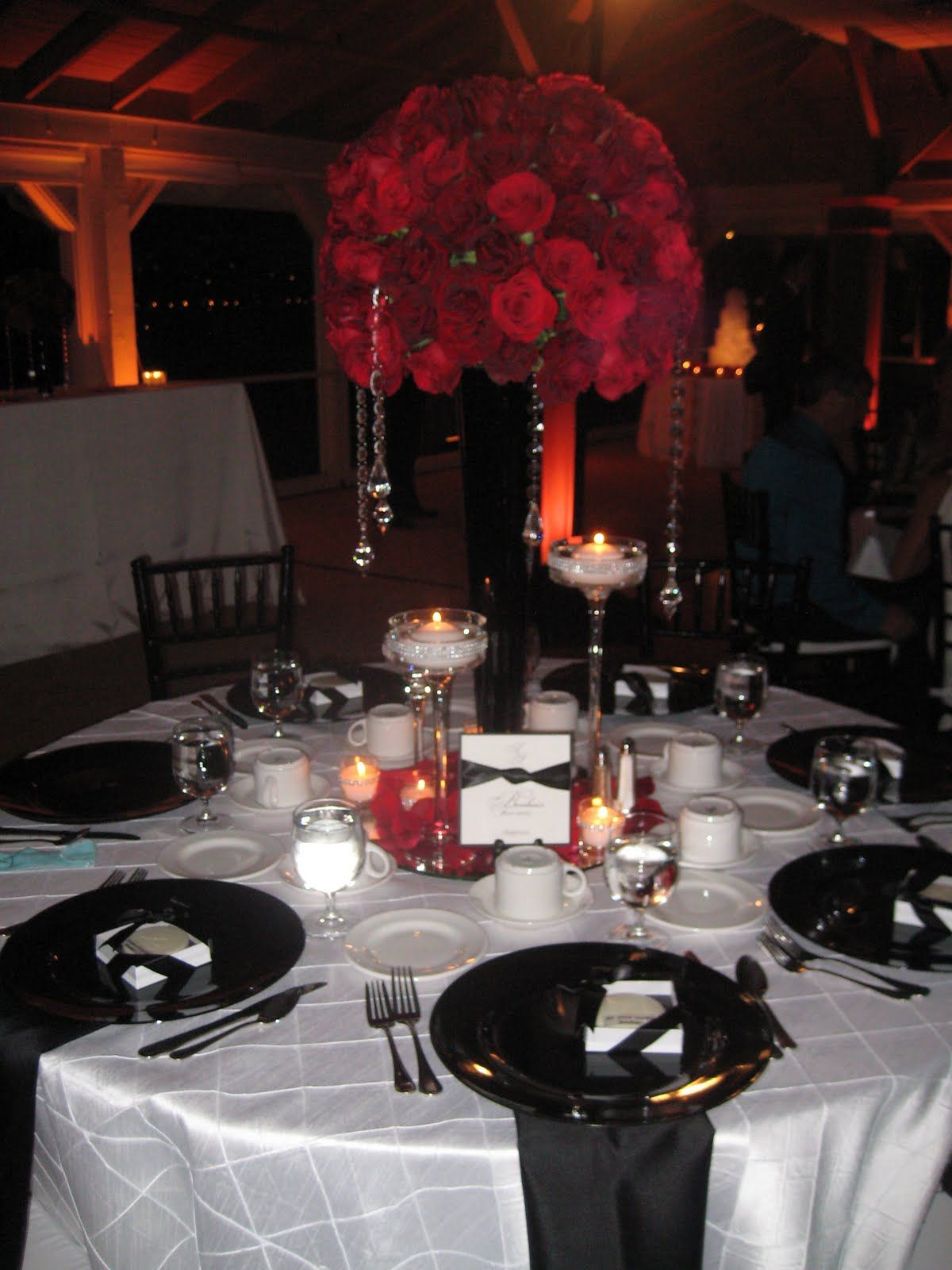 Classic Black and White Wedding with Red Roses- Newport Beach, CA ...