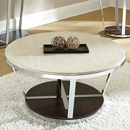 Bosco Faux Marble Round Cocktail Table With Casters In Espresso - 36 inch round cocktail table