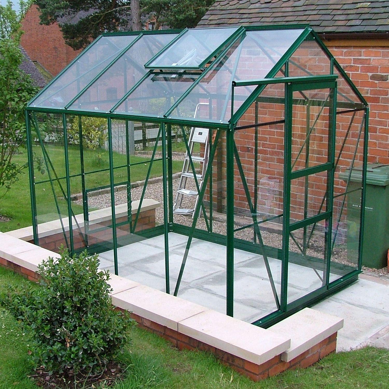 gew chshaus aus glas in gr n inklusive alu fundament greenhouses pinterest. Black Bedroom Furniture Sets. Home Design Ideas
