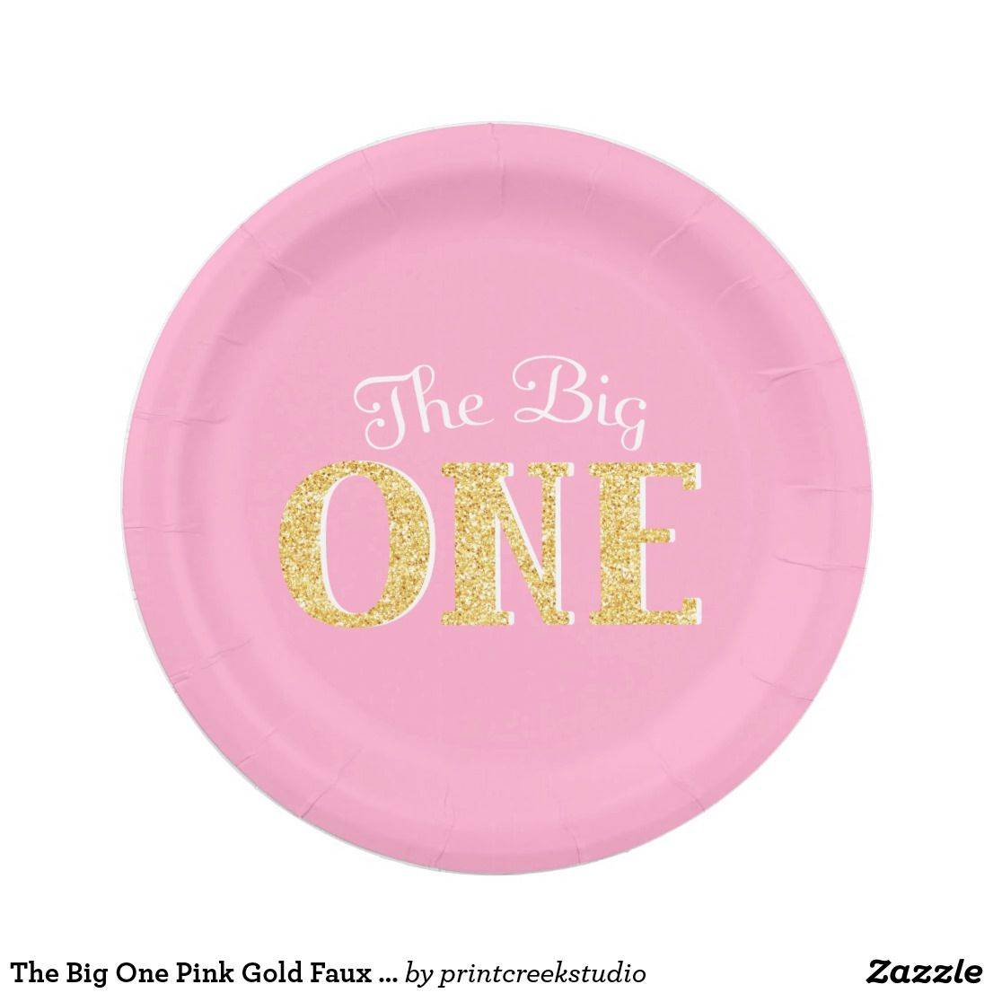 The Big One Pink Gold Faux Glitter Birthday Paper Plate Pink and gold first birthday paper plates. Designs are flat printed graphics - NOT ACTUAL GLITTER.  sc 1 st  Pinterest & The Big One Pink Gold Faux Glitter 1st Birthday Paper Plate Pink and ...