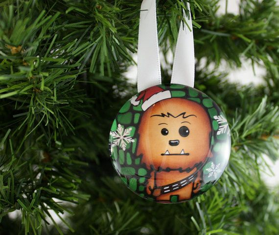 chewbacca tree ornament handmade glass decoration starwars - Chewbacca Christmas Ornament