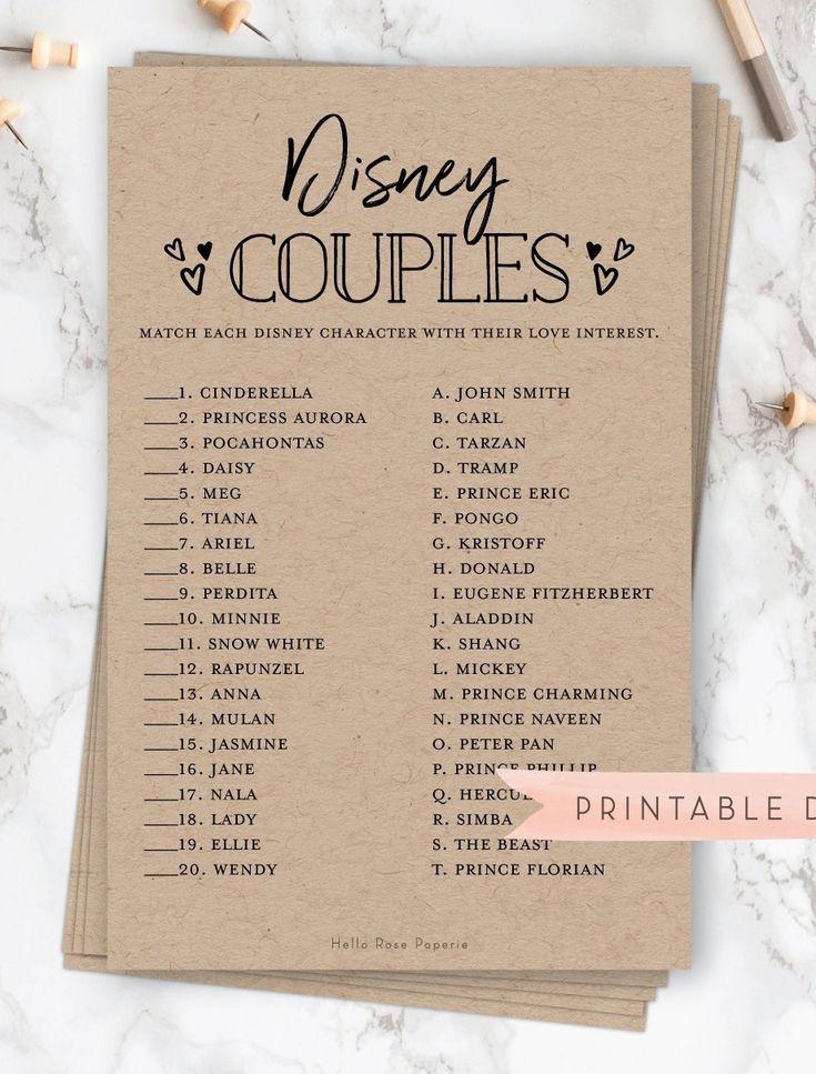 Disney Couples Game . Rustic Bridal Shower Printable . Wedding Shower Game . Rustic Kraft + Black and White . Instant Digital Download -   12 wedding Disney invitations ideas