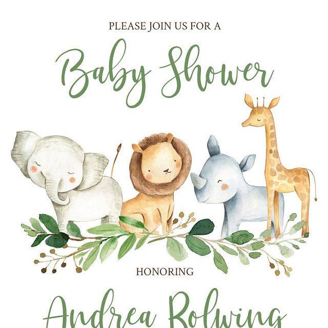 Jungle Safari Baby Shower Invitation Safari Jungle Animals Etsy Jungle Safari Baby Shower Safari Baby Shower Invitations Animal Baby Shower Invitations