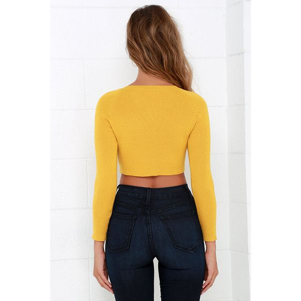 89d1d8252f7 Glamorous Coast to Boast Mustard Yellow Crop Sweater ($45) ❤ liked on Polyvore  featuring tops, sweaters, mustard crop top, knit sweater, fitted crop top,  ...