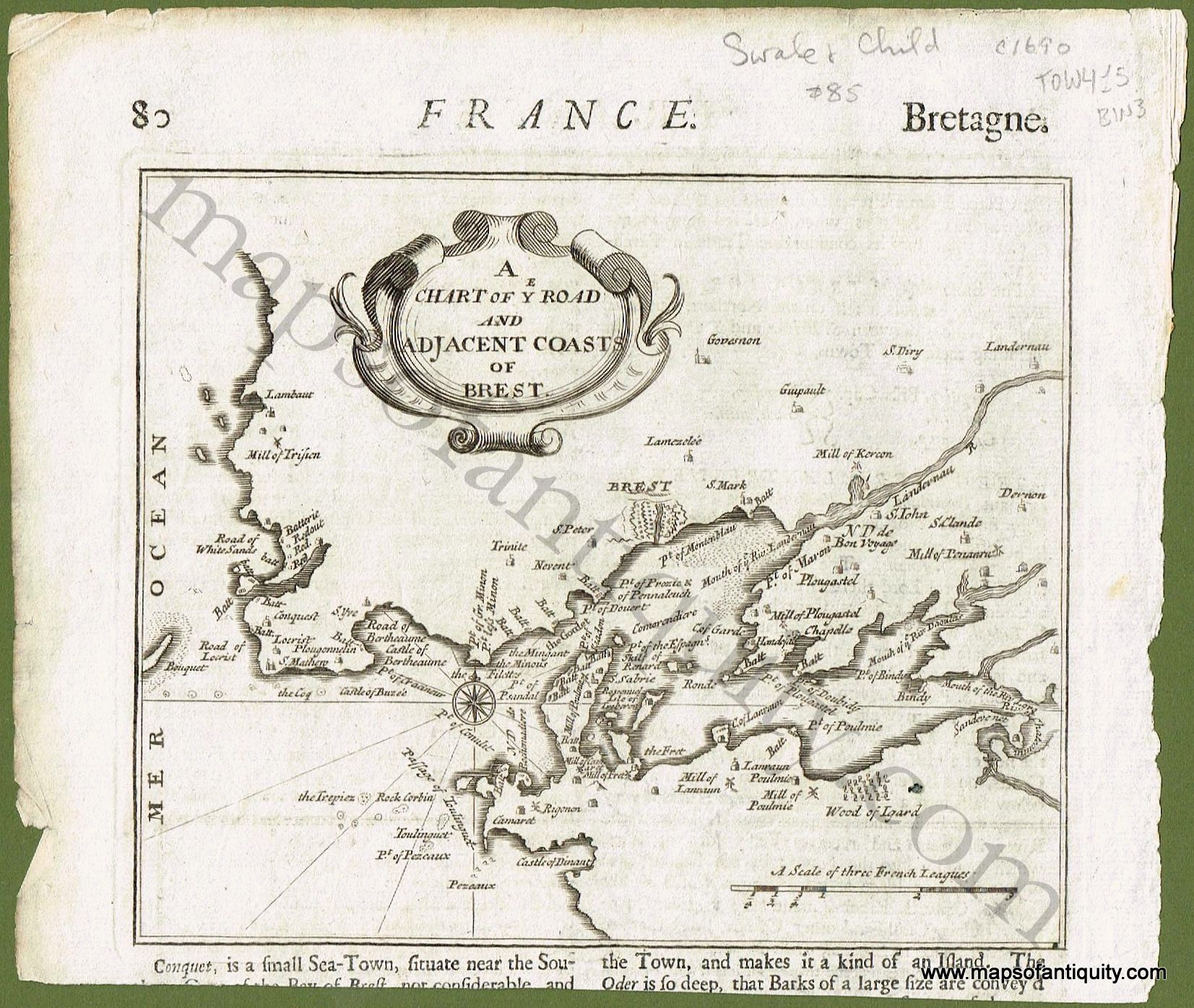 Antique C 1690 Map Of Brest France By Swale And Child Available