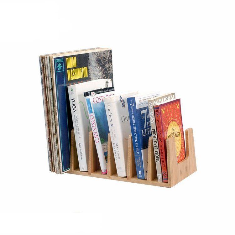 Bamboo Book Rack 6 Sections Mobilevision Book Racks Record Organizer Pot Lids