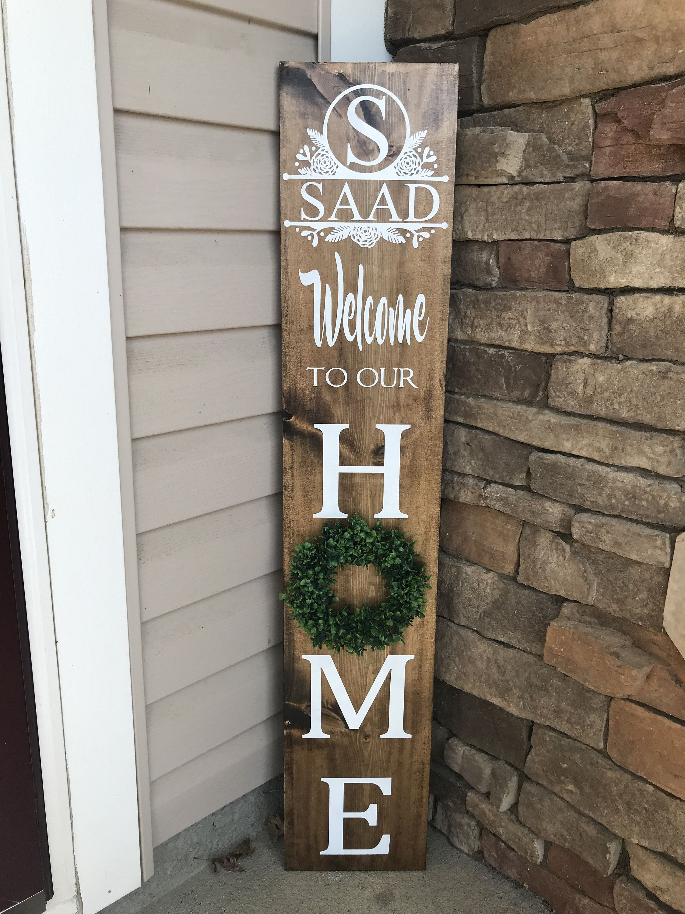Tall Personalized Welcome Sign Personalized Welcome Sign With Wreath Front Porch Sign Porch Sign With Welcome Signs Front Door Front Porch Signs Porch Signs