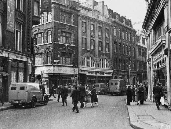Wardour Street. The Round House pub which was home to The London Skiffle Centre is on the extreme left, on the corner … | London photos, London history, Soho london