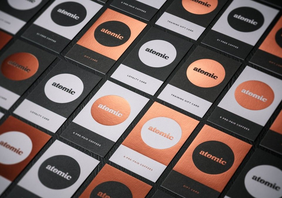 Visual identity and loyalty cards for Atomic Coffee Roasters ...