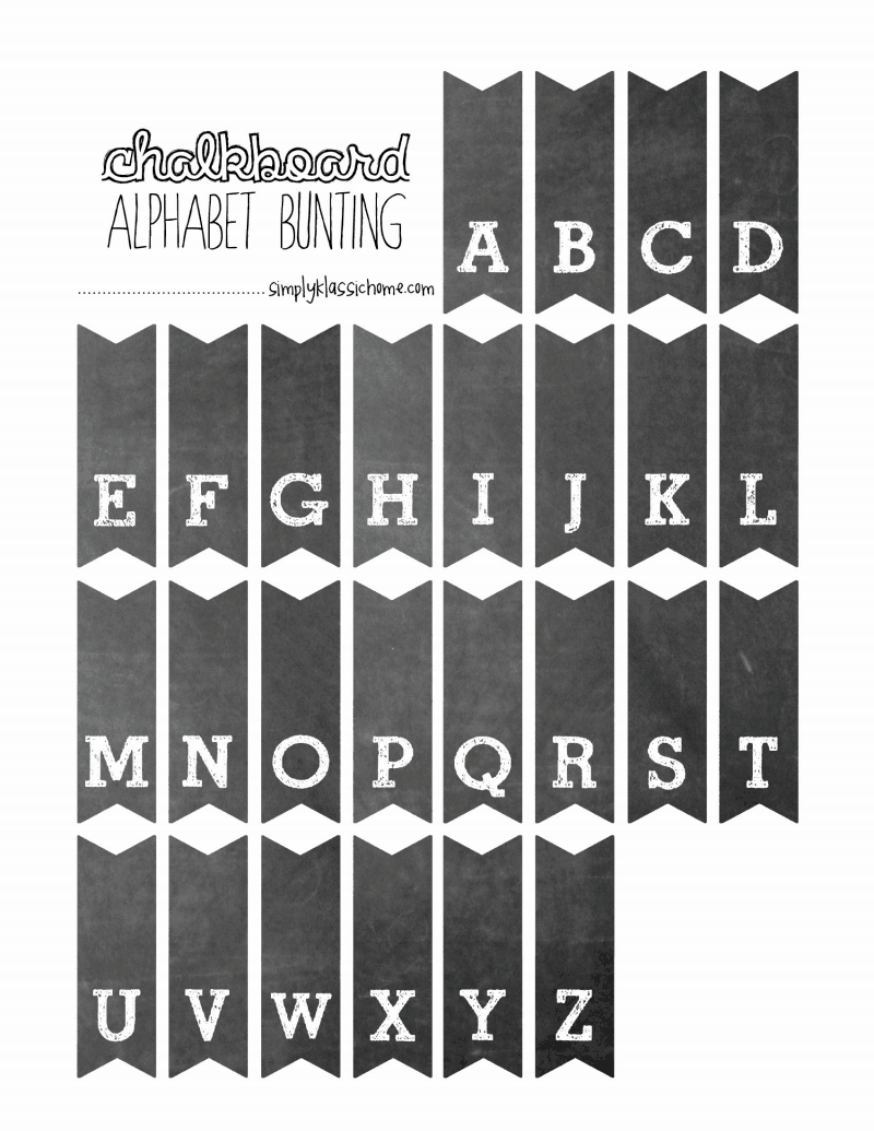 picture about Printable Chalkboard Letters named Totally free Printable Chalkboard Alphabet Bunting Craft-it-up