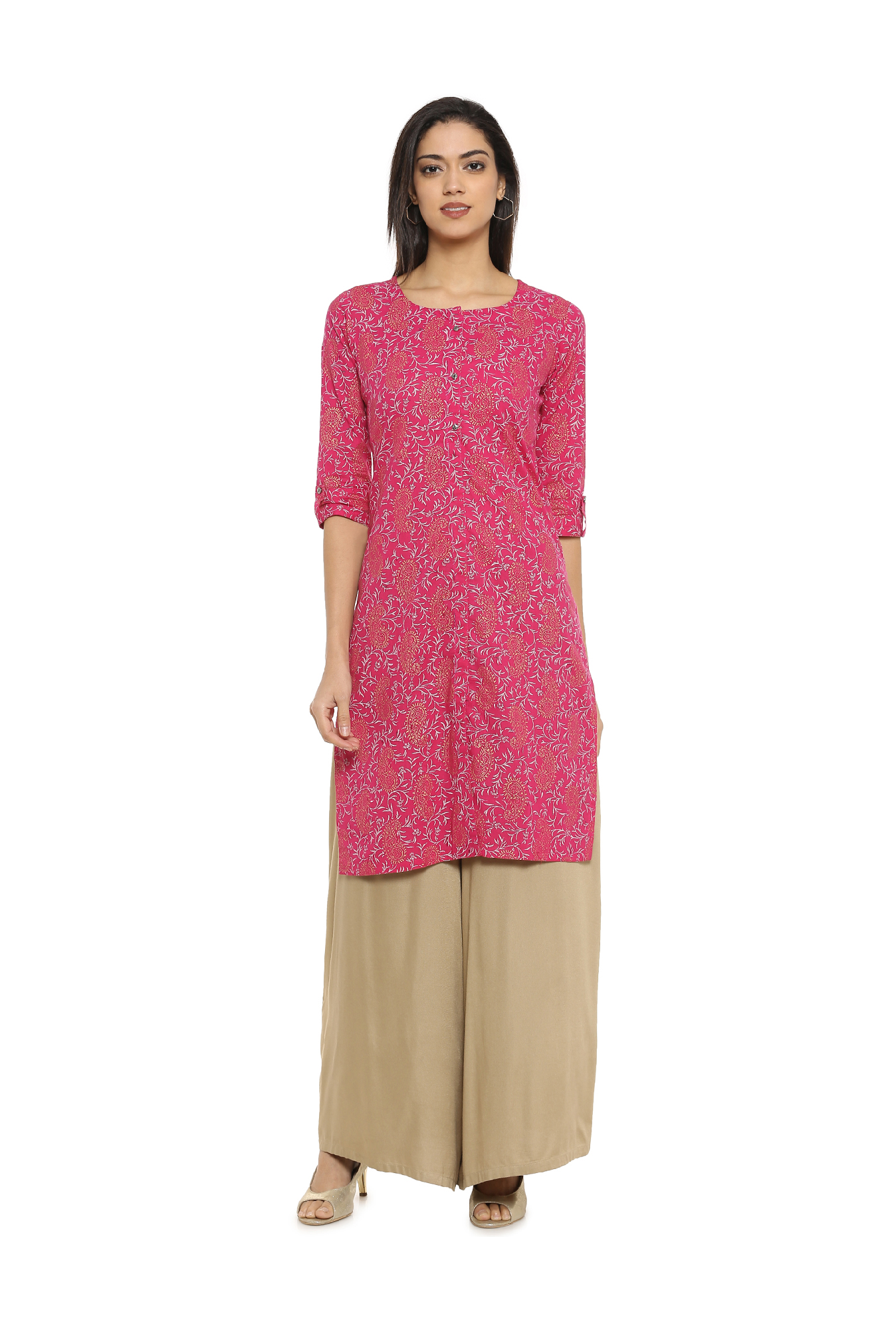 fc77cd1b5a Soch Pink Printed Cotton Kurta - | 498.00 | Ethnic Wear For Women ...