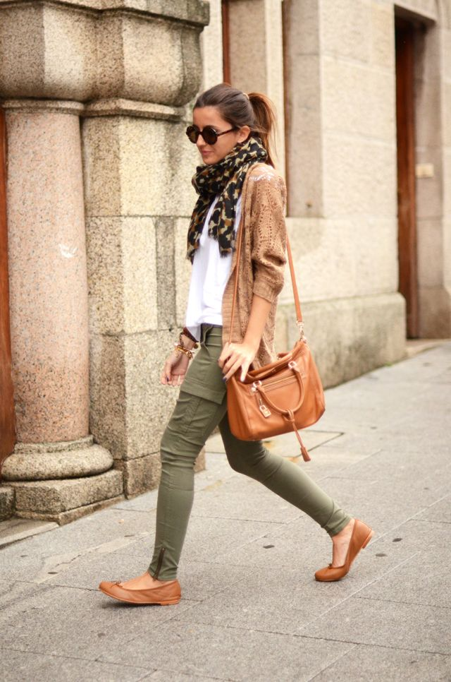 White Top Tan Jacket Colored Pants Nude Flats Scarf Via