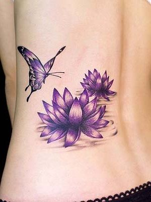 00fbb1b79d031 cute purple lotus flower design with butterfly tattoo ideas | To Ink ...