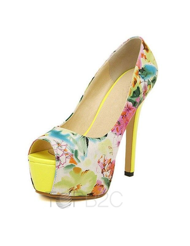 Yellow Floral Heels