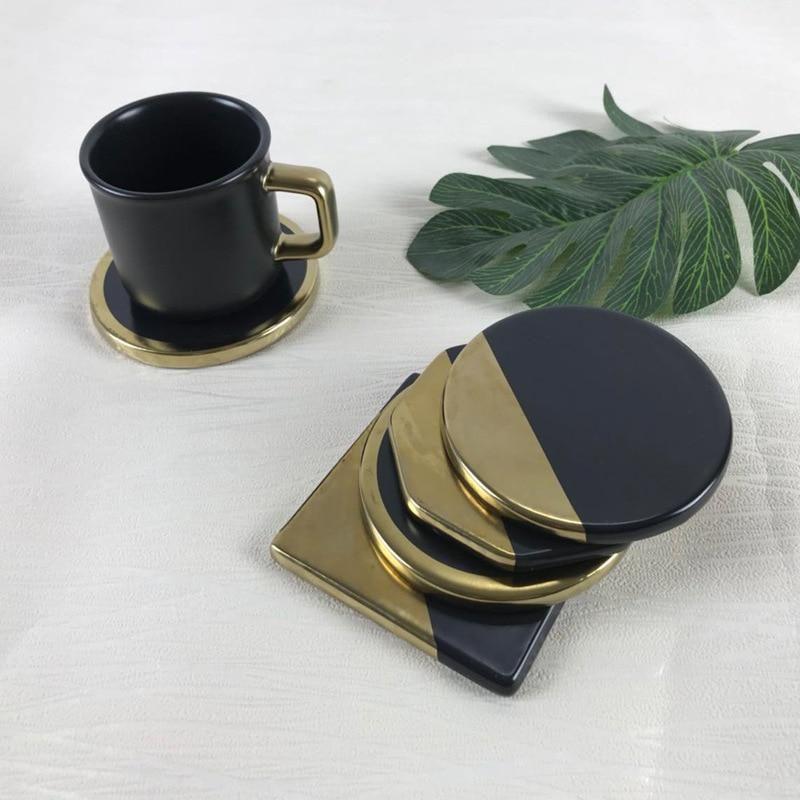 Marble Grain Black Gold Plating Ceramic Coasters Ceramic Coasters Modern Coasters Unique Placemats