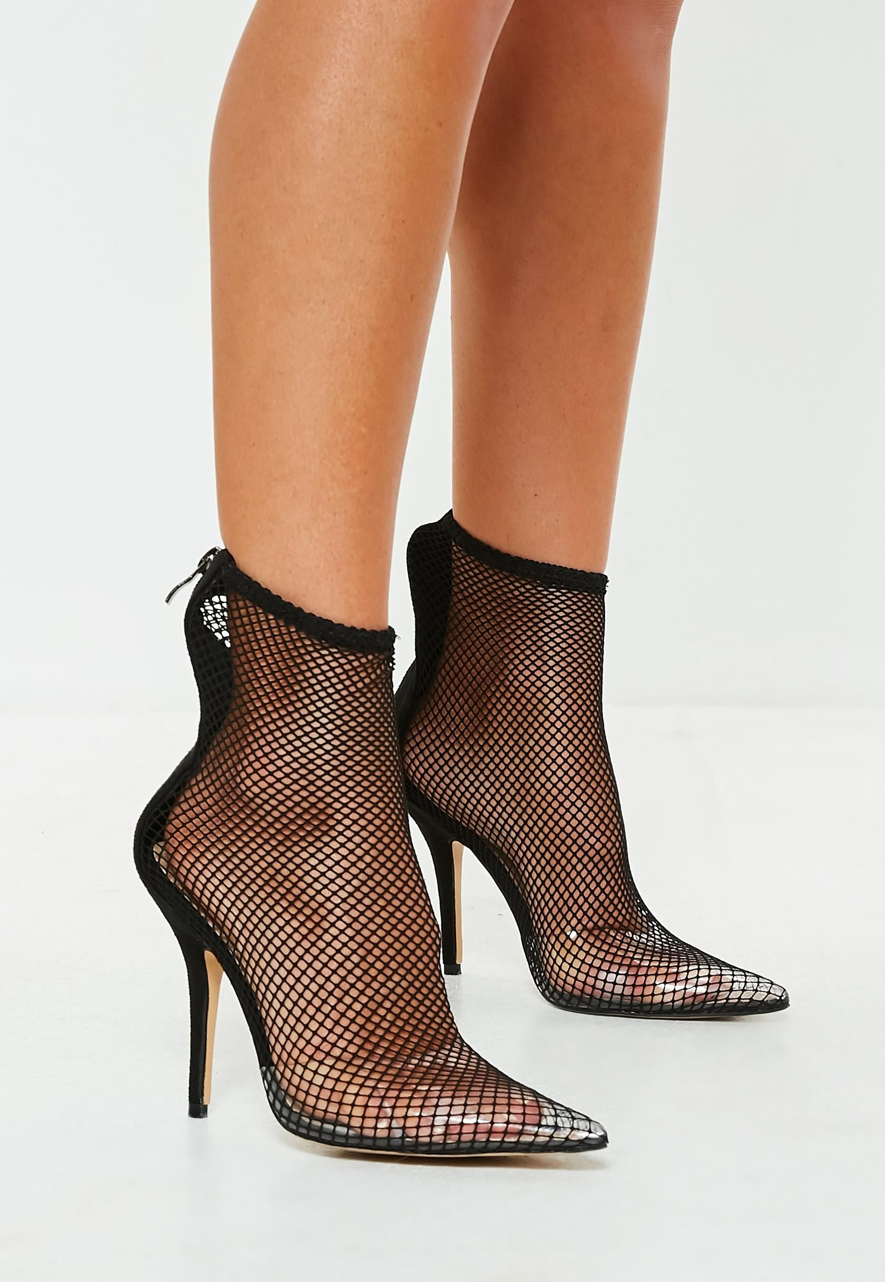 2ebb5c636ea Black Fishnet Boots | Missguided | Boots in 2019 | Shoes, Heels ...