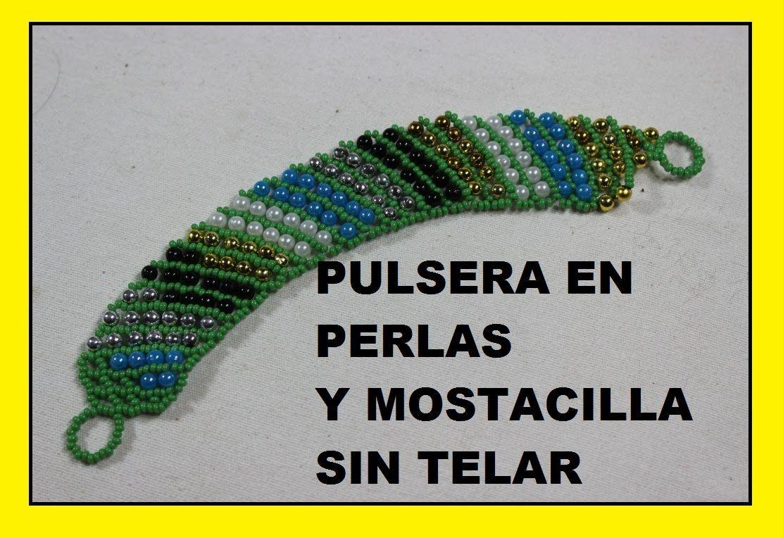 86b95db9d35a COMO HACER PULSERA EN MOSTACILLA Y PERLAS DE COLORES  HOW TO BRACELET IN.