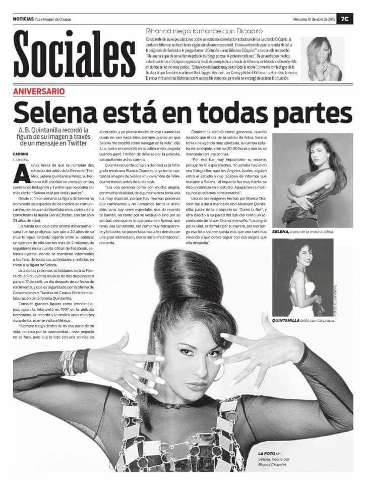 Spanish Newspaper featuring Selena Quintanilla | Selena