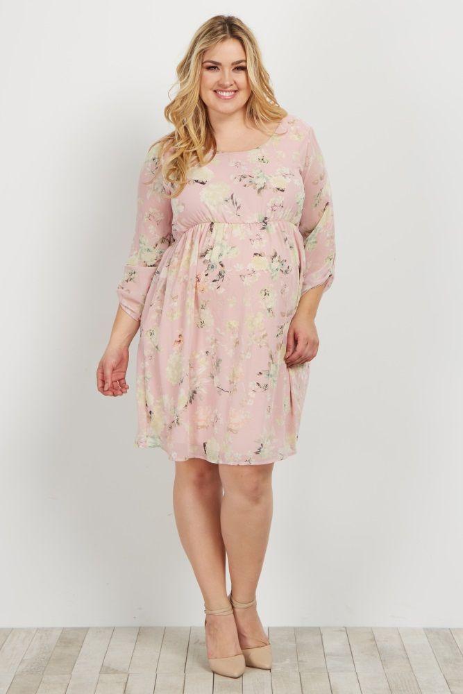 347fa2db9ea Light Pink Floral Chiffon 3 4 Sleeve Plus Maternity Dress