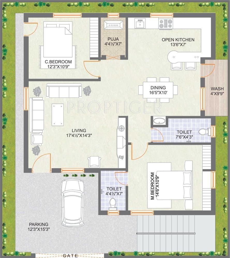500 Sq Ft House Plans In Tamilnadu Style 2bhk House Plan 30x40