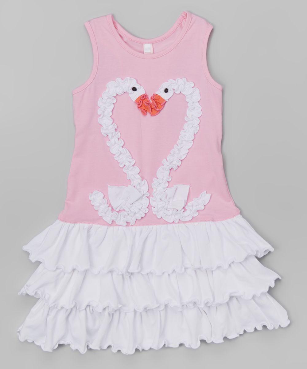 Pink dress baby  Pink Swan Heart DropWaist Ruffle Dress  Infant Toddler u Girls