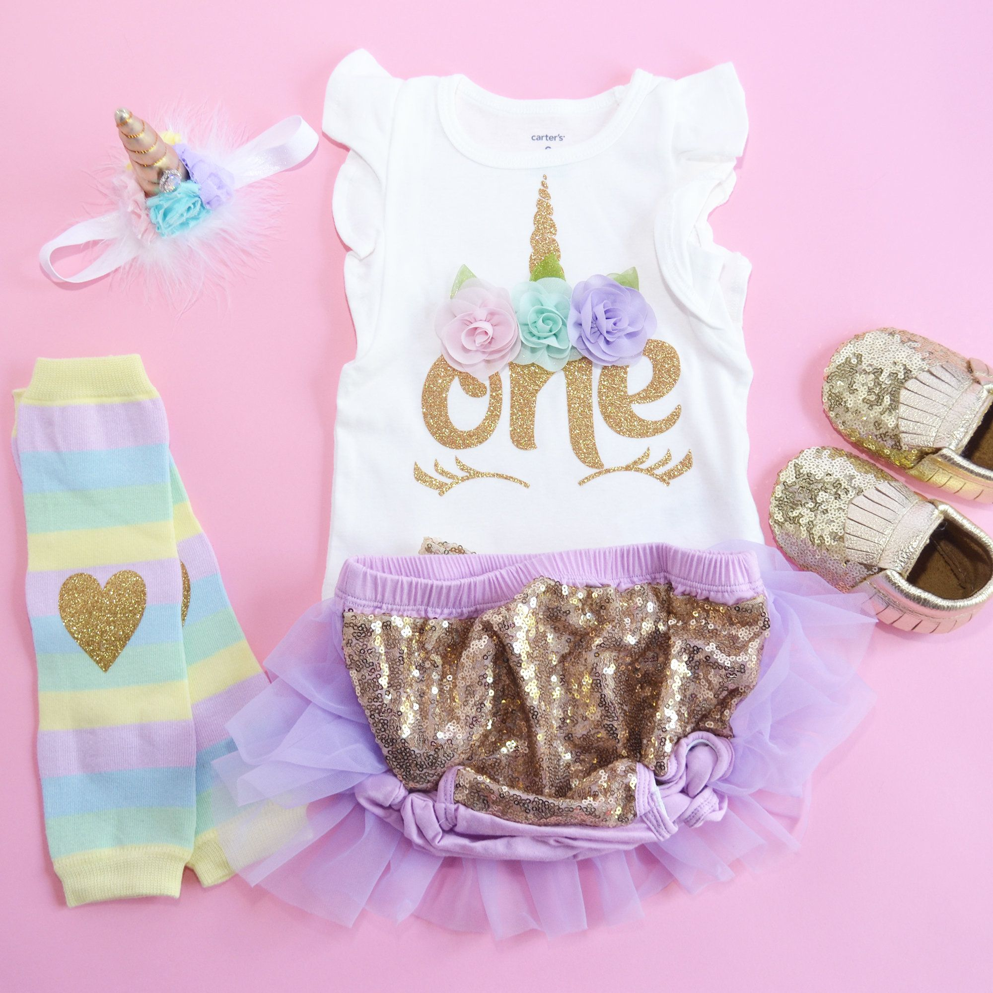 d91391ca702e7 Unicorn First Birthday outfit, Unicorn Gold lavender bloomer, Baby girl  unicorn, smash cake, shoes are not included.