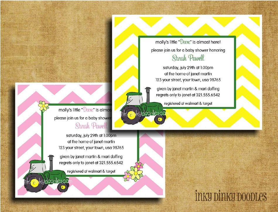 Green Tractor Baby Shower Invitation Perfect for John Deere Parties ...