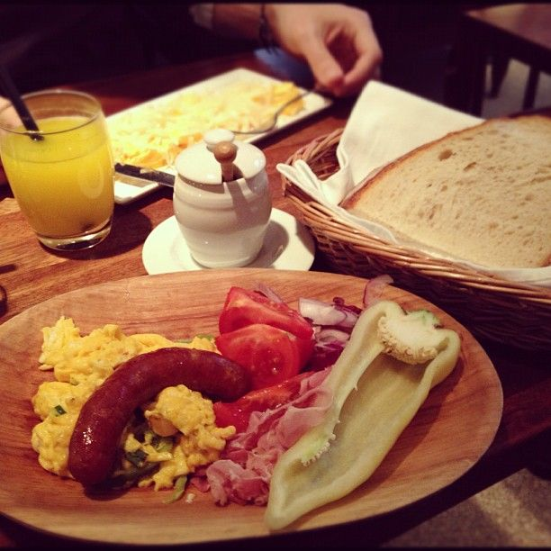 the Hungarian peasants breakfast. If the meal is accurate their peasants ate well!!  (at Gerlóczy Kávéház)