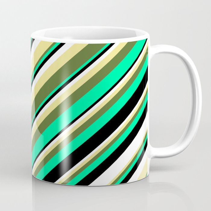 Eyecatching Tan, Dark Olive Green, Green, Black, and White Colored Lines/Stripes Pattern Coffee Mug by aponx #AD , #PAID, #AFFILIATE, #Green, #Olive, #Eyecatching, #Black