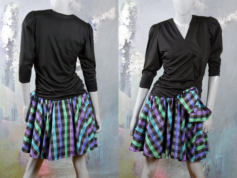 S prom dress black top with black blue green u purple tartan