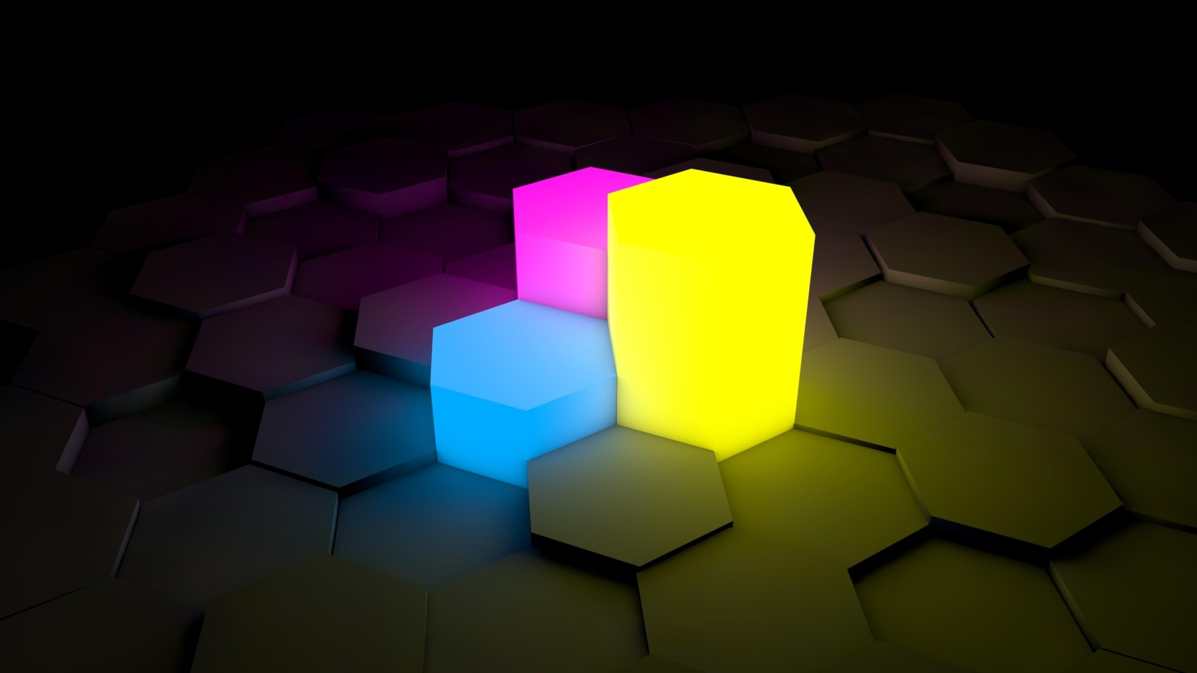 3d Blocks Blue Pink Yellow Dark Abstract Hexagon Shining Shadow Focus Neon 4k Wallpaper Hdwallpape Neon Wallpaper Hexagon Wallpaper Wallpaper Pc