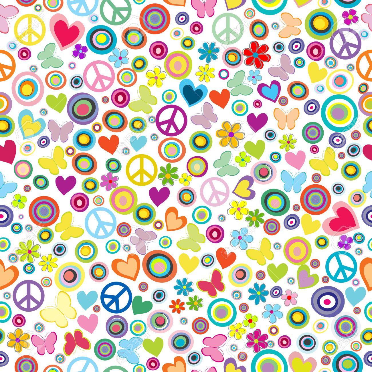 Love flower power daisy graffiti print cotton fabric 60s 70s retro - Flower Power Bloemen Google Zoeken