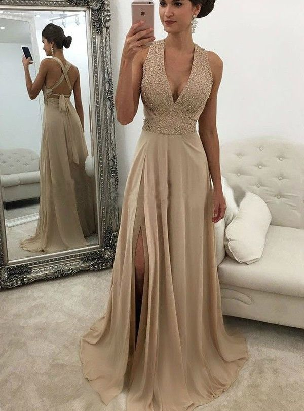 6ad19463a4 V Neck Champagne Prom Dresses Slit Prom Dress in 2019