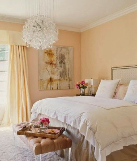 Peach Accent Wall With Light Yellow: Peachy Keen @Veranda Magazine Like The Lucite Legs On The