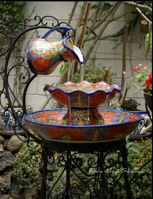 Mexican Pottery Fountain Diy Water Ideas Bird Bath Design