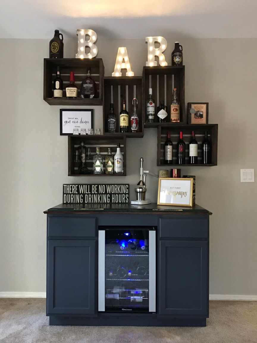 Diy Bar With Wine Fridge And Vintage Crates Dream Home In 2019