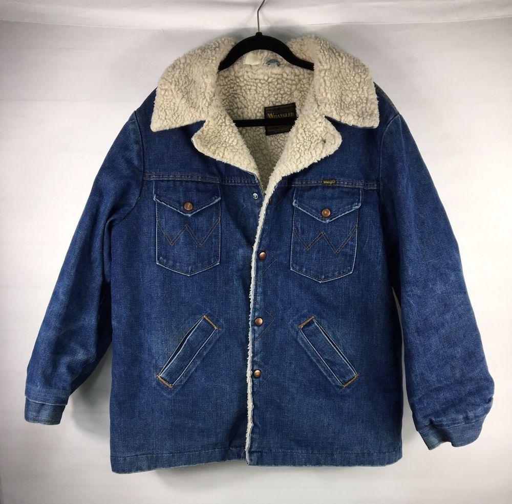 Vintage Wrangler Mens Denim Jacket Sherpa Lined Wrange Coat Western Giacca Abbigliamento Vintage [ 986 x 1000 Pixel ]