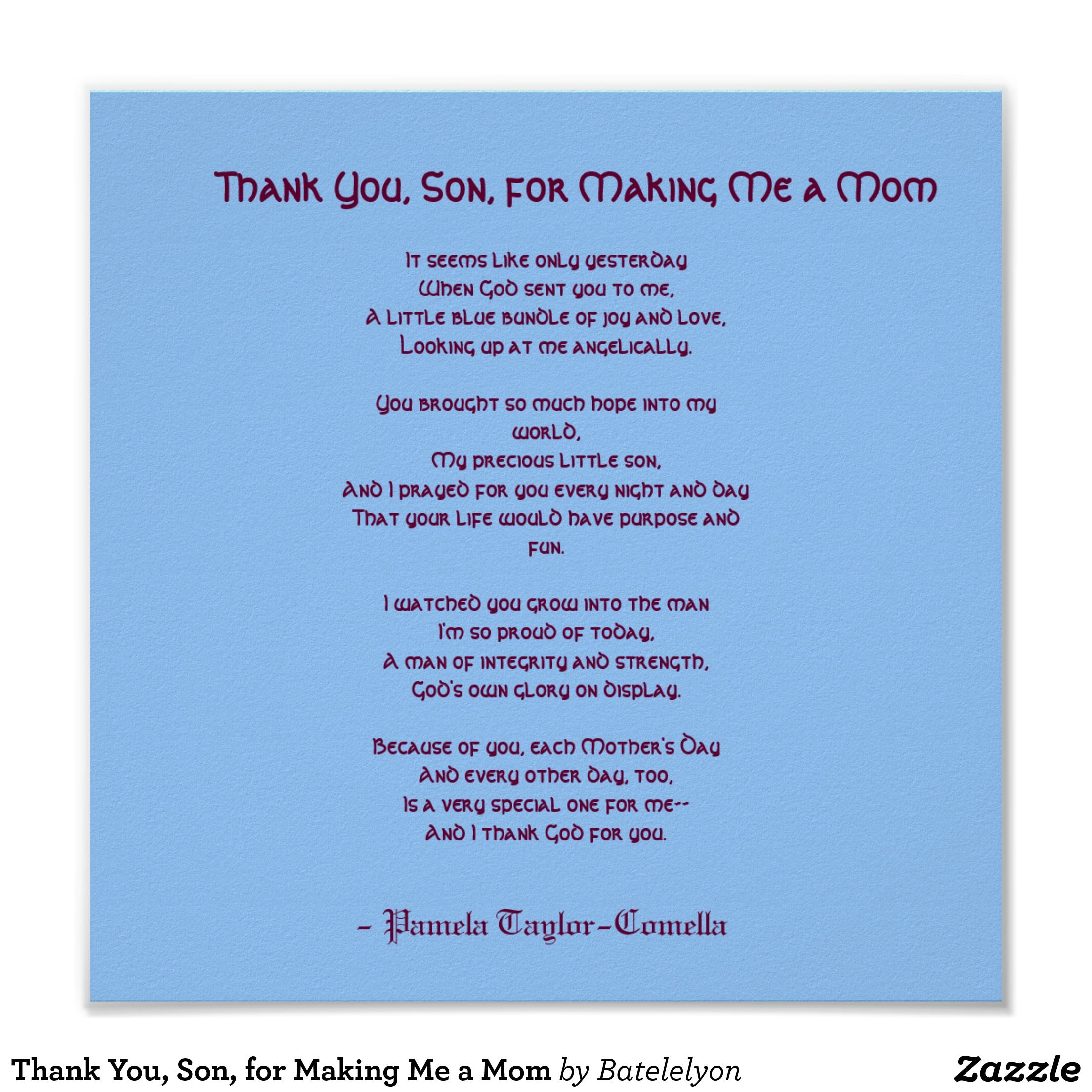 Thank You Son For Making Me A Mom Poster Zazzle Com Birthday Messages For Son Son Birthday Quotes Son Quotes