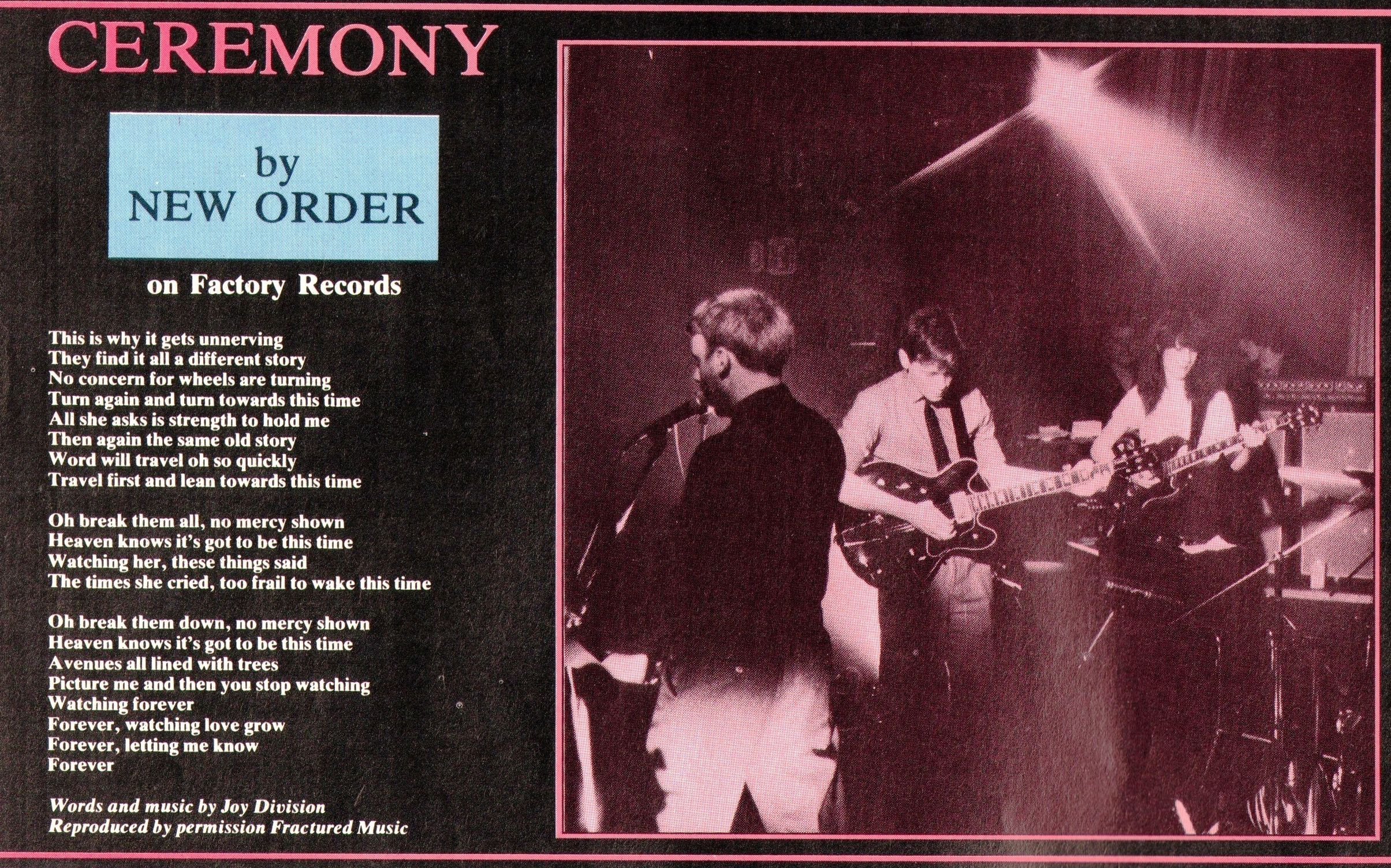 New Order Ceremony Is A Song By Joy Division Released