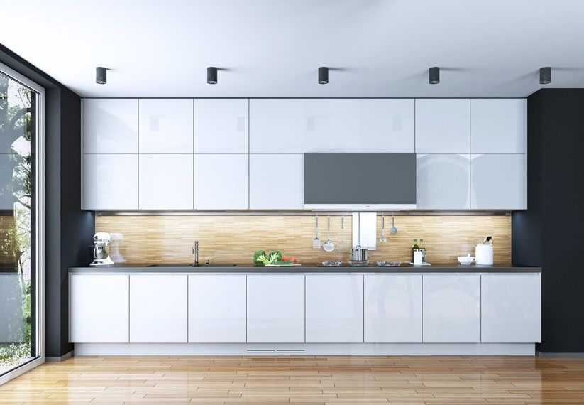 cocina en dos frentes de estilo moderno para una cocina rectangular ...