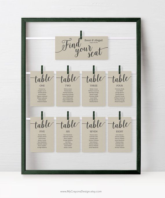 Rustic Wedding Seating Chart Cards Template, Wedding Seating Cards