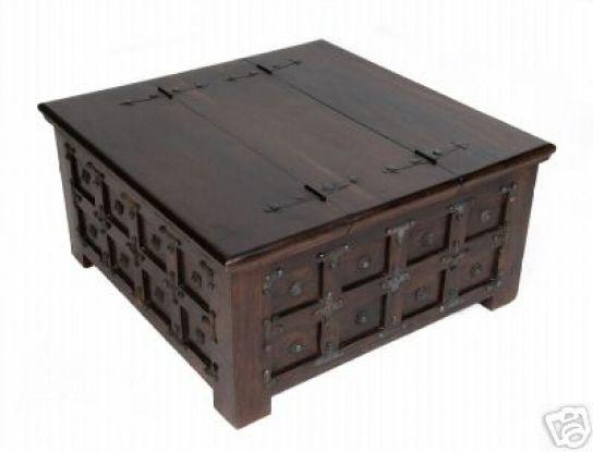 Kolonial Truhe Couchtisch 47 90x45x90cm Truhe Tisch
