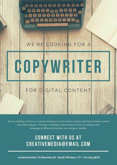 Teal Typewriter Job Vacancy Announcement | Desain, Bahasa ...