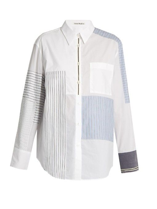 Refresh office ensembles with Acne Studios's white Sela shirt. It's cut from crisp cotton-poplin for a boy-borrowed silhouette, and distinctly detailed with a patchwork of tonal-blue, yellow, black, and white striped panels. Try it with cropped denim and the brand's Aja pumps for a cool, contemporary take.