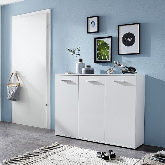 Casey Modern Shoe Storage Cabinet In White With 3 Doors Will Add A Charming Tone
