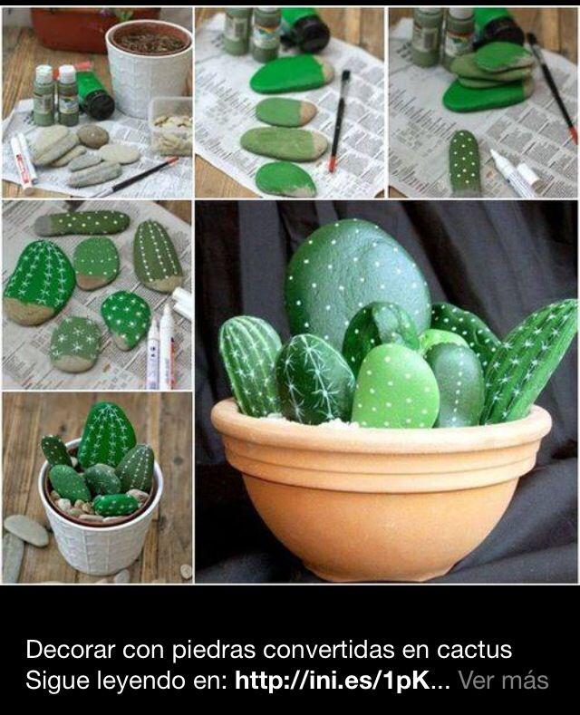 Cactus hechos con piedras pintadas   Reciclaje   Pinterest   Piedras ...