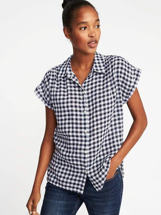 b296daaf4d931 Old Navy Relaxed Linen-Blend Gingham Shirt for Women