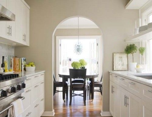 Crisp White Cabinets Walls In Ben Moore Clay Beige Oc 11 Arch To Dining